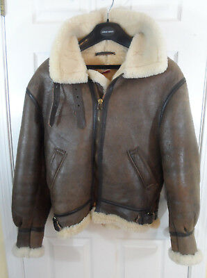 f3ea0ff6f6 Orchard Motorcycle Branded B-3 Shearling Sheepskin Leather Bomber Jacket  Mens 42