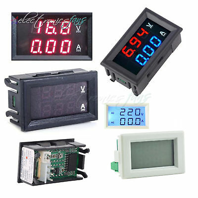 LED DC 0-100V 5-100A/AC 80-300V 50A Dual Digital Voltmeter Ammeter Panel