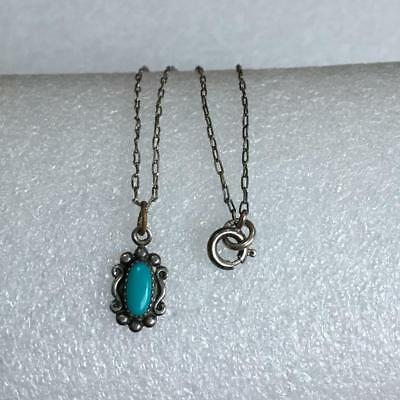 Diminutive-Child's Block Turquoise 925 Sterling Silver Pendant Necklace 15""