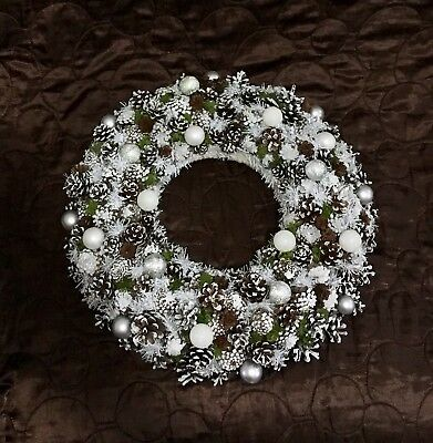 Christmas Wreath White Door Front Or Table Decor Festive Decoration 32cm
