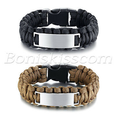 Outdoor Camping Survival Rope Paracord Bracelet Stainless Steel Free Engraving