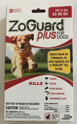 New ZoGuard Plus Flea & Tick Spot-On for Dogs 45-88 lbs (3 Month) - Free Ship
