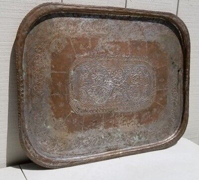 Stunning Large Antique Brass Copper Bronze Asian India Hammered Tray Platter