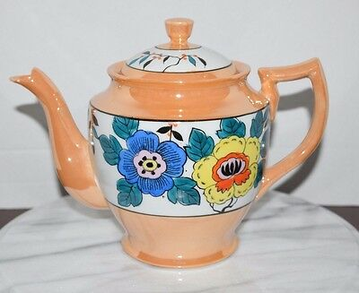 Vintage Made In Japan Nippon Lustreware Teapot With Lid Hand Painted Floral Rare