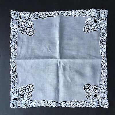 Vintage Antique Handkerchief Hanky Bridal Rose Buds Needle Lace Hand Made Swiss