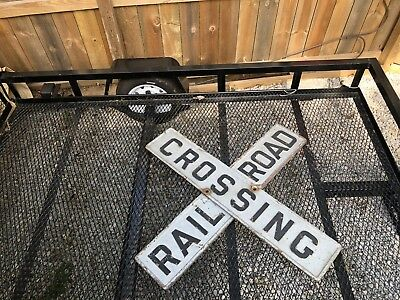 Vintage Antique RR Railroad Cast Iron CrossBuck Crossing Sign