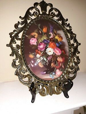 Vintage Large  FLORAL Picture Ornate Oval Metal Frame CONVEX GLASS - Italy