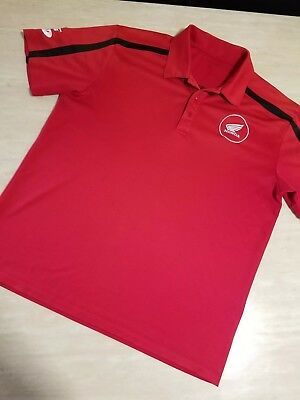 Honda Wings RIDE RED Port Authority Size L 3 button Polo Shirt *FREE SHIPPING*