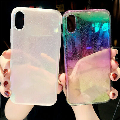 For iPhone XR XS Max 8 7 6 Funny Water Drop Cover Colorful Gradient Rainbow Case