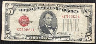 Series of 1928 F US $5 Red Seal United States Legal Tender Note Better Grade