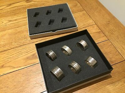 6 x Sterling Silver Napkin Rings Harlequin Set Boxed