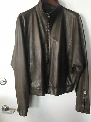 cf9218eb329 GUCCI MENS OLIVE Green Leather Moto Style Jacket... Authentic ...