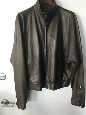 5373c65203a GUCCI MENS OLIVE Green Leather Moto Style Jacket... Authentic ...