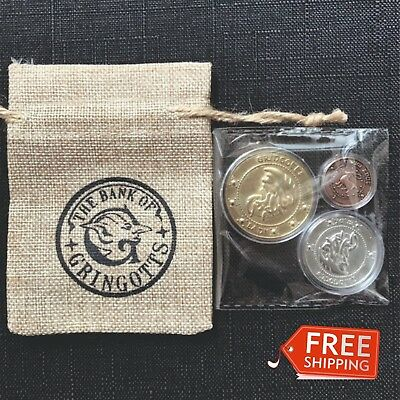 Harry Potter Gringotts Bank Coin Collection Wizarding Hogwarts  3pcs+Magic Bag