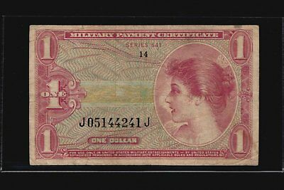 1965 - 1968 Series 641 MPC $1 Military Payment Certificate One Dollar