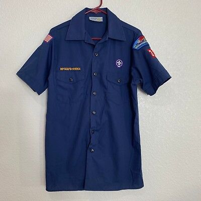 Boy Scouts of America Youth XL Blue Short Sleeve Shirt with Patches USA