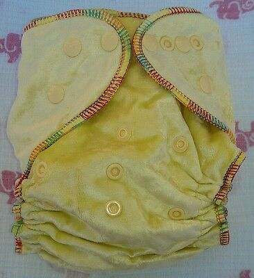 1 New Yellow Bamboo Velour Cloth Diaper Nappy Adjustable 8-33lbs, Free Insert!