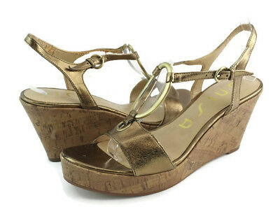 387cbdac3f9 Unisa Unottilia Women s Gold Leather Ankle Strap Cork Wedge Sandals Size 8 M