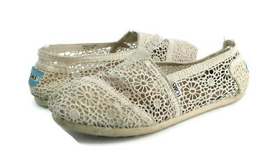 0f5d6e93a7d Toms Women s Beige Floral Morocco Crochet Classics Casual Slip-On Shoes US  6.5