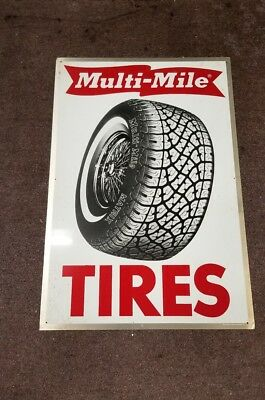 "Vintage Multi-Mile Tire Sign Metal Sign Advertisement 24"" x 36"""
