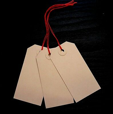25 Plain Buff 96Mm X 48Mm Christmas Tags Gift Parcel Labels With Red String