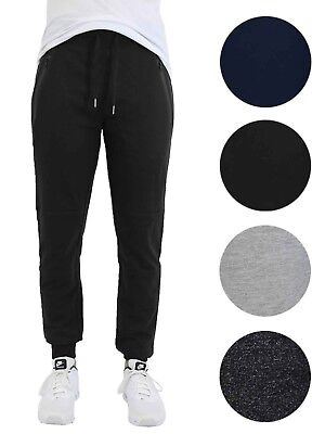 2cf583285600 Mens Slim-Fit Jogger w  Zipper Pockets Sweatpants French Terry Lounge  Sports NEW