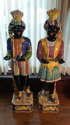 "Vintage 1940 Italian Glazed Majolica 43"" Tall Boy & Girl Blackamoor Servants"