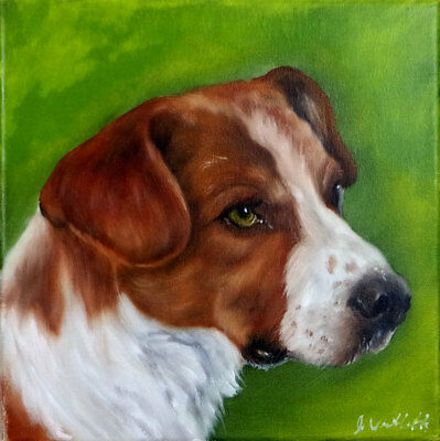 Hunting Dog Portrait Colorfull original Oil Realism Painting on Stretch Canvas