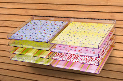 """10 LOT   12""""x12"""" Peg-able Clear Acrylic Paper Trays by Display Dynamics - PG-001"""