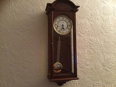 Comitti of london Wall Clock  Oxford Westminster Chime Yew Wood