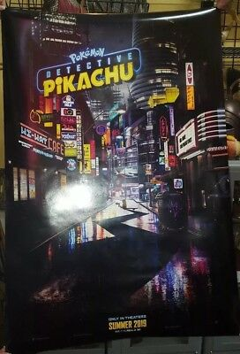 "Detective Pikachu 27"" x 40"" Double Sided Movie Theater Poster Pokemon PROMO"