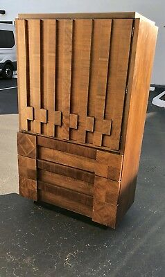 Remarkable Mid Century Modern Brutalist Armoire After Paul Evans