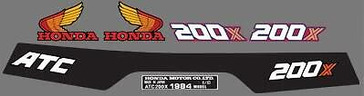 1984 84' honda ATC 200x 6pc. ATV stickers Vintage decals graphics kit
