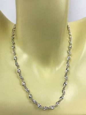 """Vintage ITALY DNT Designer 925 Sterling Silver Twisted Chain Rope 20"""" Necklace"""