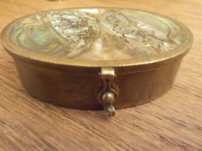 Vintage Pill Box with Abalone Shell Inlayed Lid - Mexico