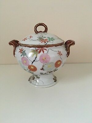 Vintage Japanese Porcelain Hand Painted Flowers Tureen with Lid Covered Bowl