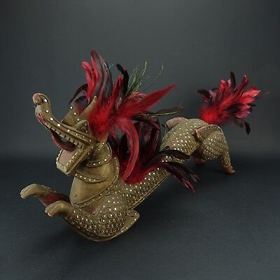 Antique Dragon Old Wooden Oriental Carved bedazzled Stunning! 24 inch