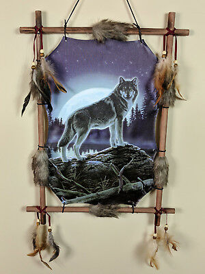 Indian Picture Wolf Moon Dream Catcher Mandella 16 x 22 Beads Feathers Frame