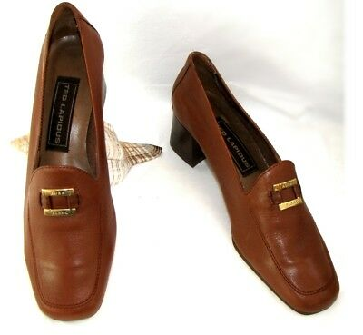 TED LAPIDUS - Moccasins shoes small heels brown leather camel 37 - NEW