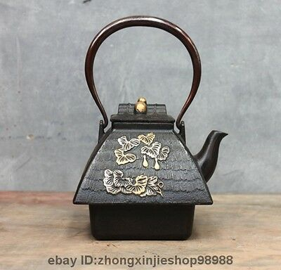 Archaic Japanese Iron Silver Gilt Roof Flowers Flagon Kettle Wine Tea Pot