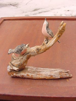 Pair of Hand Carved Red-Breasted Nuthatch on Rustic Branch Signed VT Carver 1963
