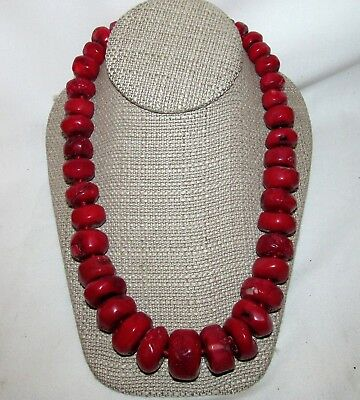 Antique Chinese Oxblood Red Coral Necklace 232 Gr. Bead 925 Silver clasp