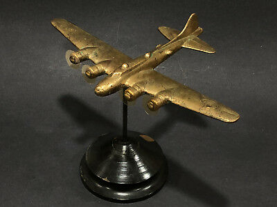 WWII Boeing B-17 Airplane Model Trench Art Metal Antique Bomber Brass