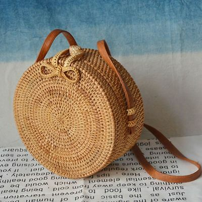 Fashion Handwoven Round Rattan Bag Shoulder Leather Straps Natural Chic Handbag