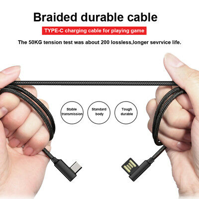 Braided 90Degree Right Angle Type C USB Fast Data Sync Charger Cable For Android