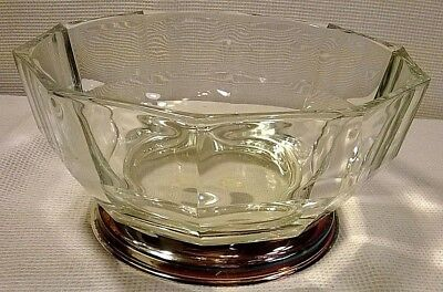 Vintage Godinger Crystal /Silver Plate Base Geometric Cut Glass Bowl - Italy