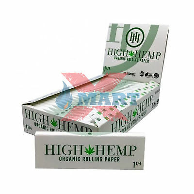 High Hemp 1 1/4 Organic Rolling Paper (32 Sheet per Booklet - 25 Booklets/ Box)