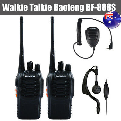 2* Walkie Talkie UHF 400-470MHz 5W 16CH BF 888S Portable Two Way Radios +Speaker