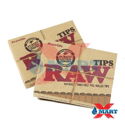 RAW PRE ROLLED Natural Cigarette Filter Paper Tips Rolling Papers (2 Packs)