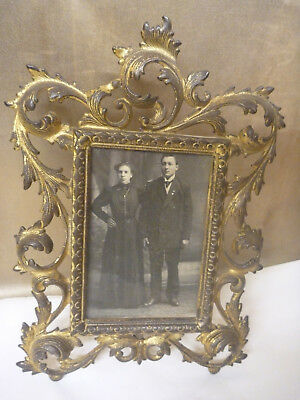 Cast Iron Brass Finish Victorian Mirror Picture Stand Up Photo Frame Ornate 1906